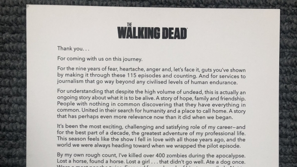 Emotionele afscheidsbrief 'The Walking Dead'
